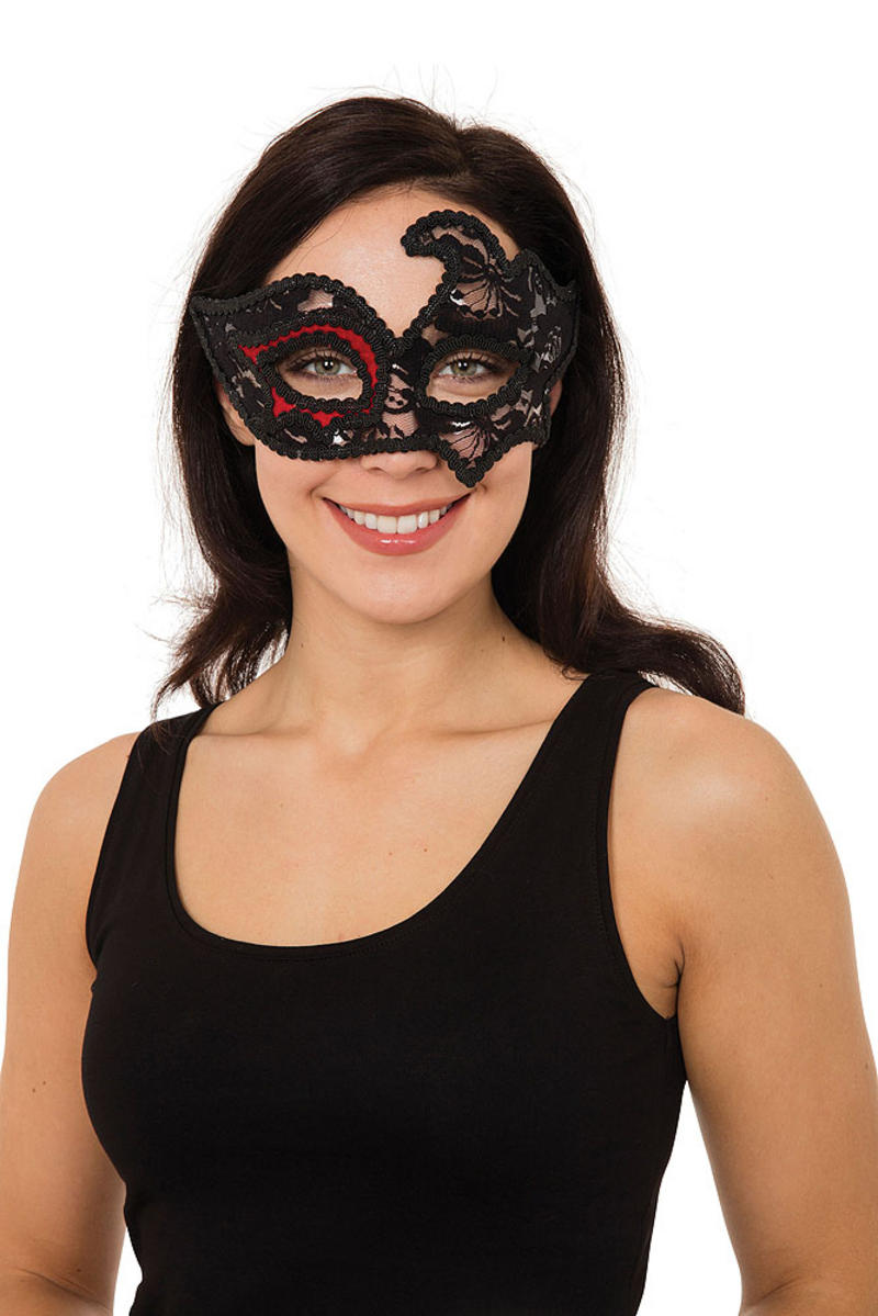 Ladies Black W/Red Eye Mask On Glasses Frame Masquerade Ball Party