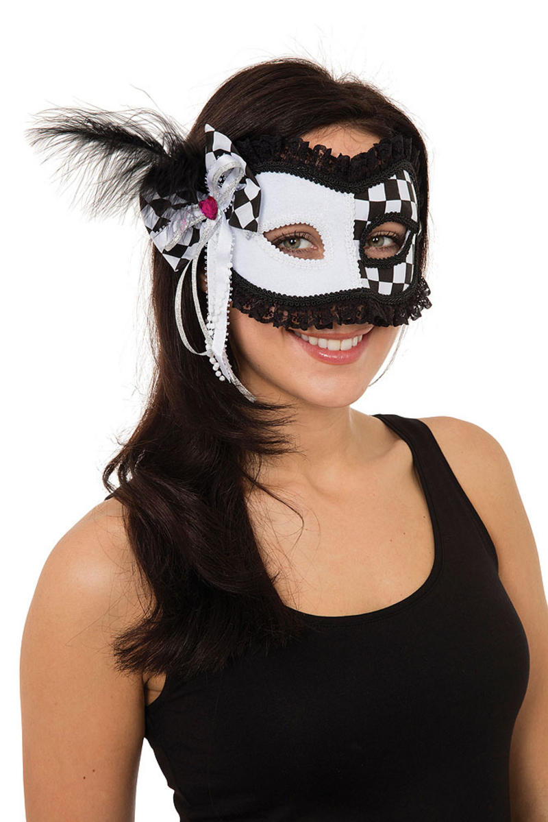 Ladies Harlequin/Jester Mask On Glasses Frame Masquerade Ball Party