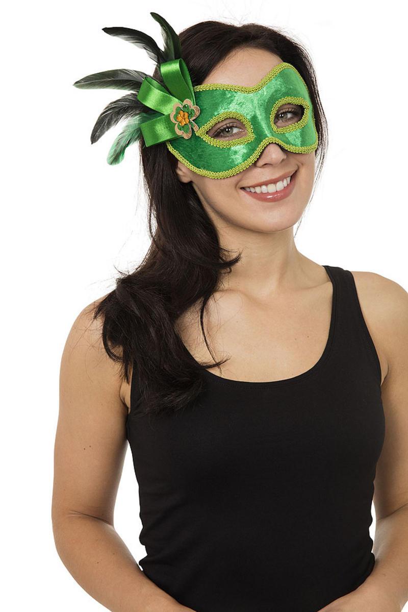 Ladies Green W/Side Decoration Mask On Glasses Frame Venetian Fancy Dress