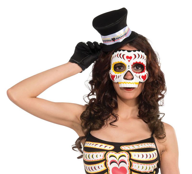 Ladies Day of the Dead Mask On Elastic Halloween Skeleton Fancy Dress Prop