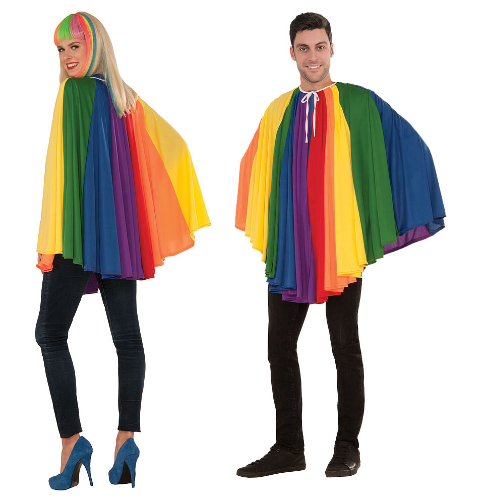 "Adult Rainbow Cape Cloak 30"" Long Fancy Dress Costume Gay Pride Mens Womens"
