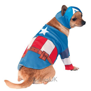 Captain America Fancy Dress Costume Outfit The Avengers Dog Pet Animal S To XL