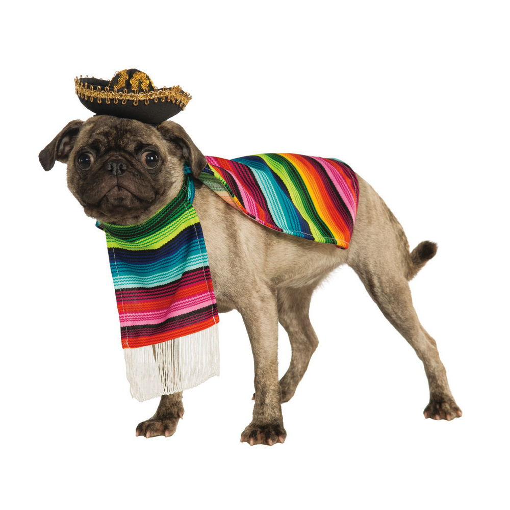 Mexican Somberero & Poncho Fancy Dress Costume Outfit Dog Pet Animal S To XL