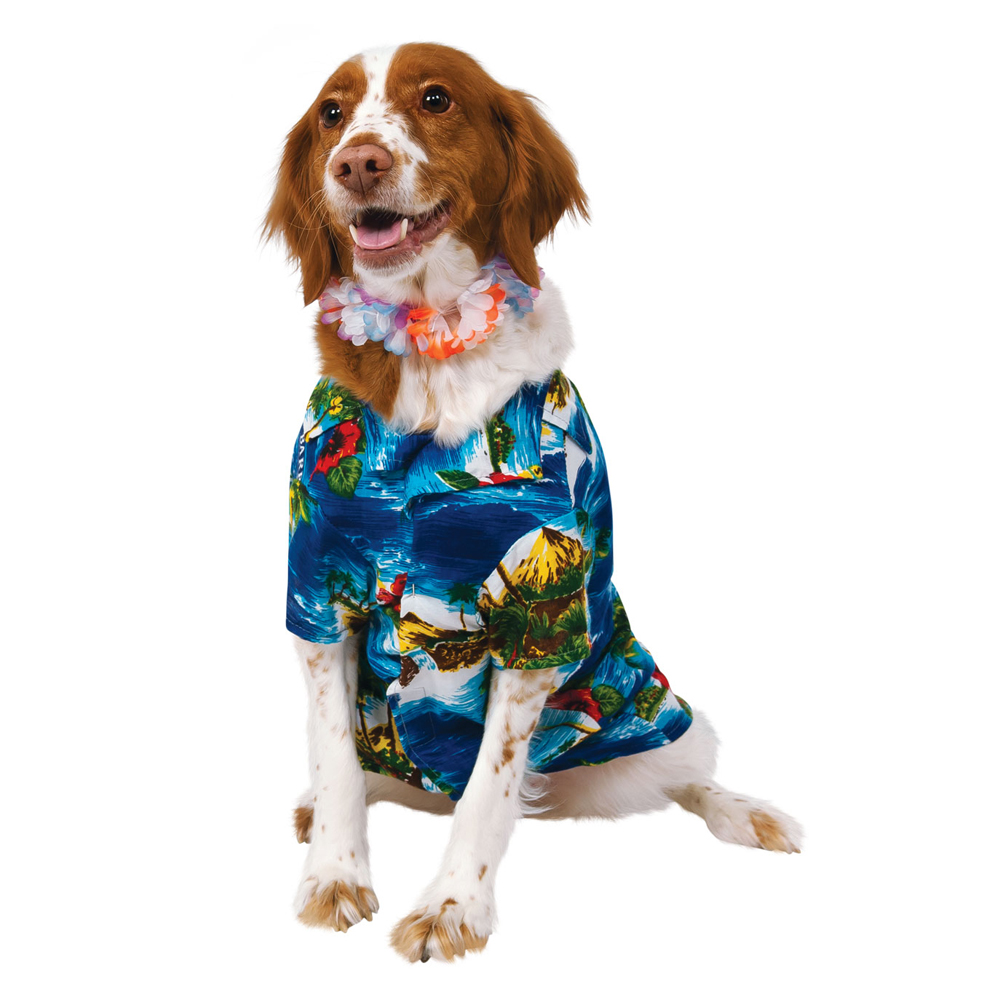 Dog Puppy Pet Hawaiian Shirt & Lei Fancy Dress Costume Beach Outfit Clothing