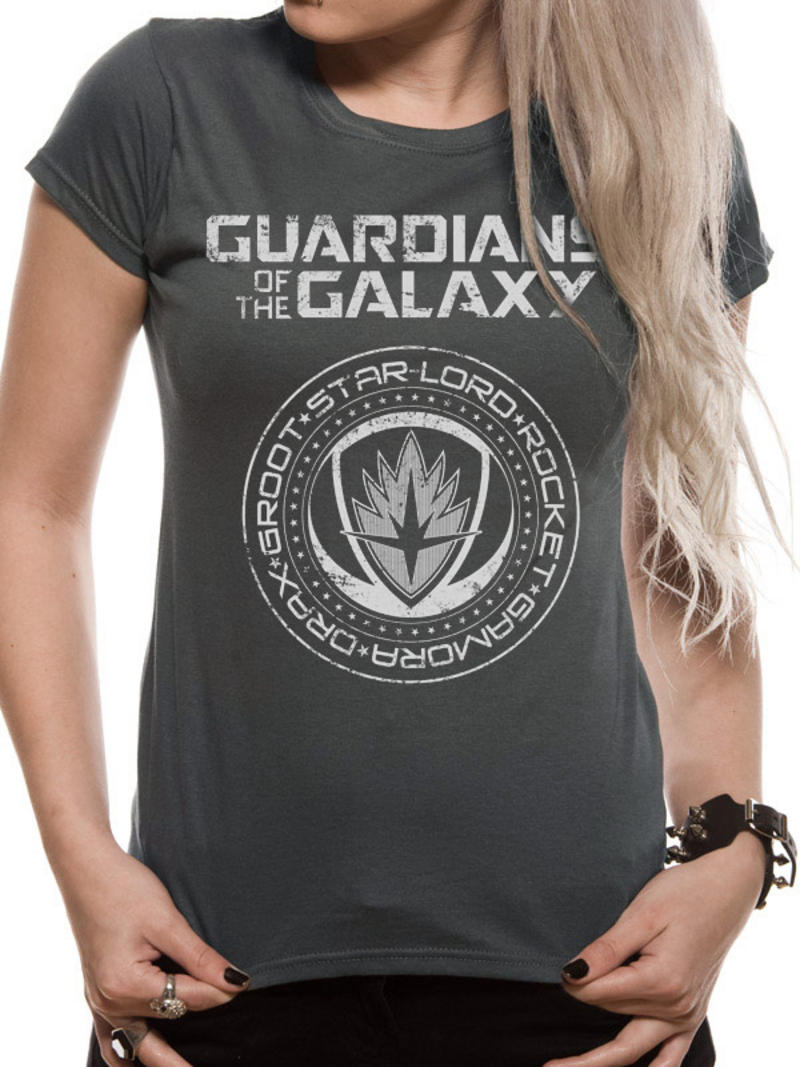 Guardians Of The Galaxy Vol 2 Womens Ladies Fitted T-Shirt Top Crest L UK 12-14