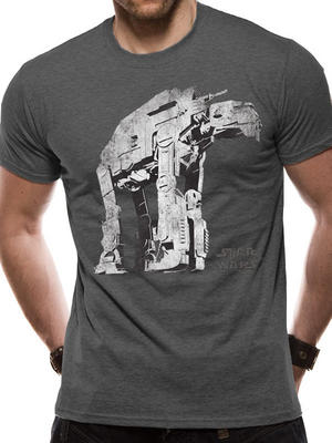 Grey AtAt Star Wars 8 The Last Jedi Guerilla Walker Mens T-Shirt Top S