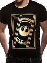 Black Gold Star Wars 8 The Last Jedi - Jedi Badge Mens T-Shirt Top L