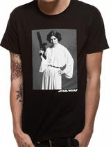 Star Wars Classic Princess Leia Carrie Fisher Portrait Mens T-Shirt Top M