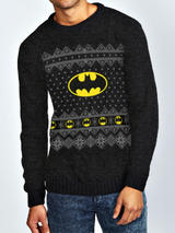 Batman Bat Light Classic Logo Xmas Christmas Knitted Jumper Sweatshirt M