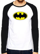 Batman Baseball Shirt T-Shit Long Sleeve Logo M