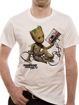 Guardians Of The Galaxy Vol 2 Mens T-Shirt Licensed Baby Groot & Mix Tape XXL