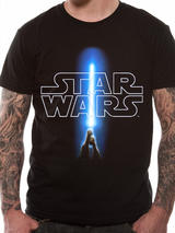 Classic Star Wars Logo With Jedi Light Sabre Mens T-Shirt Top 2XL