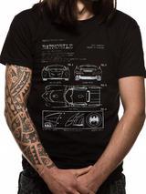 Batman Batmobile Blueprint Mens T-Shirt Top M