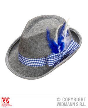 Bavarian Fedora Hat Blue Feathers Oktoberfest Fancy Dress Costume Accessory
