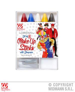 5 X Mixed Make Up Sticks With Sharpener Halloween Clown Fancy Dress Accessory