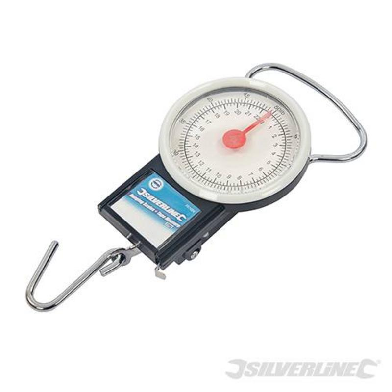 Silverline Hanging Scales & Measuring Tape 22Kg