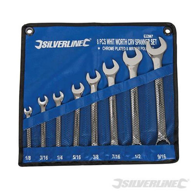 """Silverline 8 Piece Whitworth Spanner Set 1/8-9/16"""""""