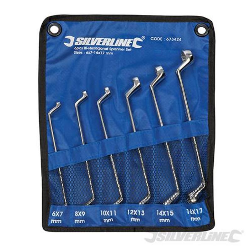 Silverline 6 Piece Deep Offset Ring Spanner Set 6-17Mm