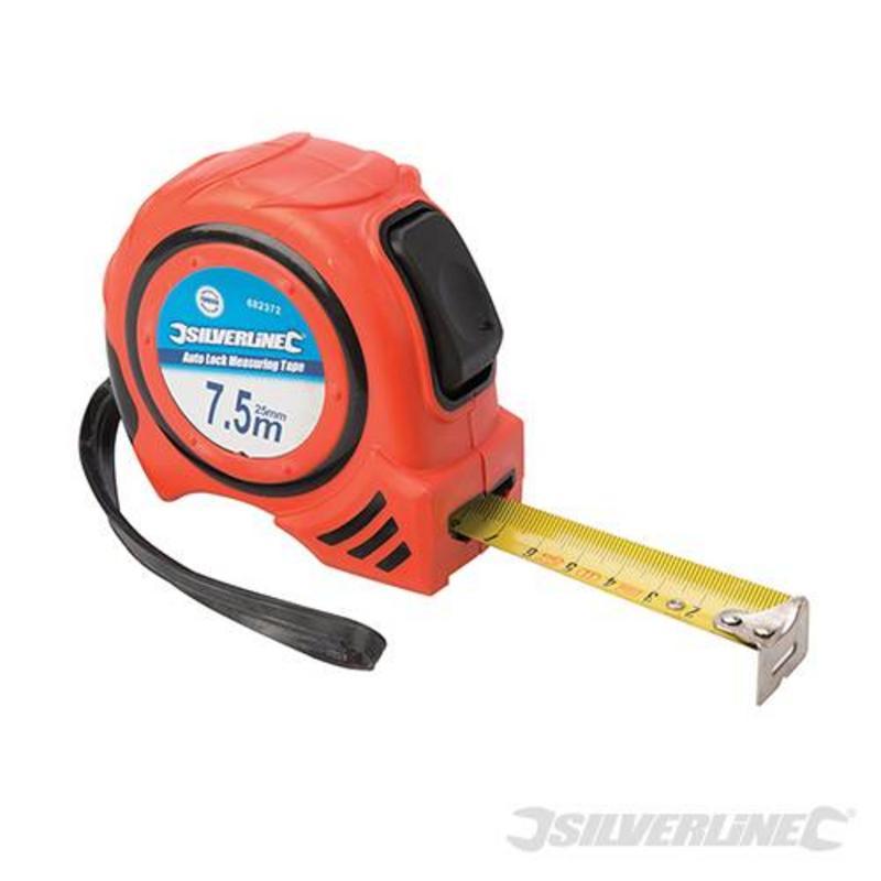 Silverline Auto-Lock Measuring Tape 7.5M X 25Mm