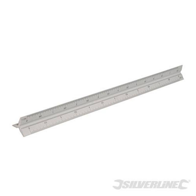 Silverline Aluminium Scale Tri-Ruler 300Mm