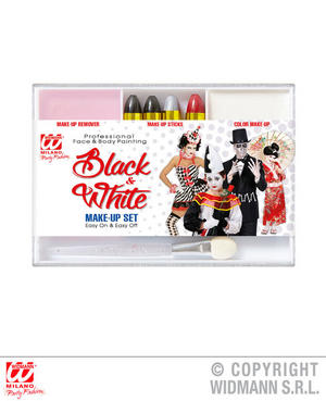 Black & White Make Up Set Halloween Circus Fancy Dress Costume Accessory Kit