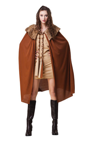 Ladies Short Brown Cape Cloak With Plush Collar Game Of Thrones Fancy Dress Prop