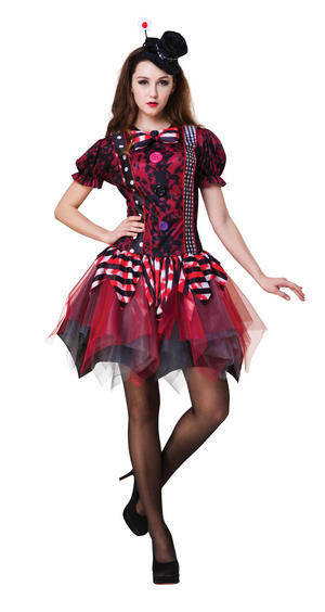 Ladies Womens Halloween Clown Fancy Dress Costume Outfit & Hat UK 10-14