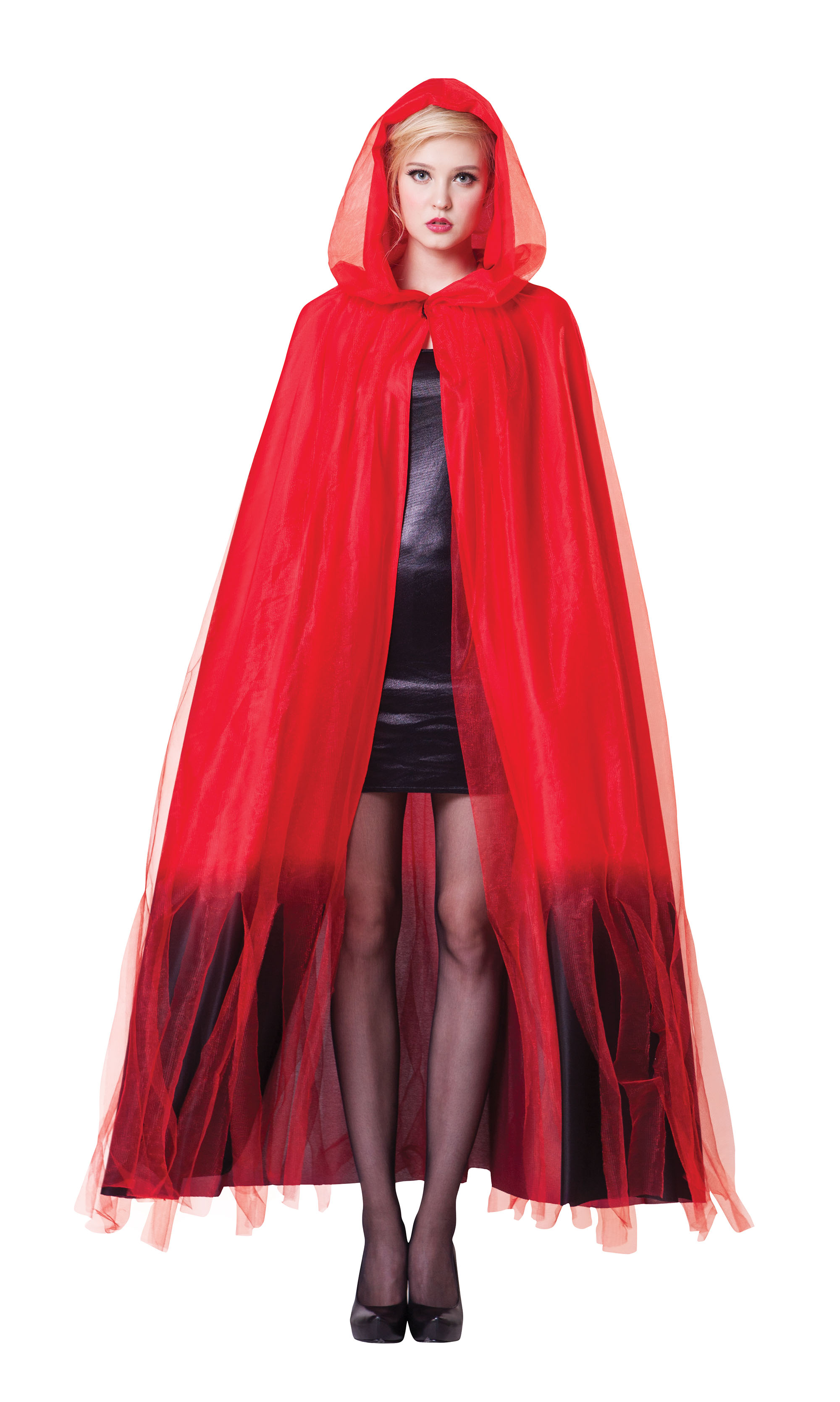Ladies Womens Hooded Red Cape Cloak With Black Finish Halloween Fancy Dress