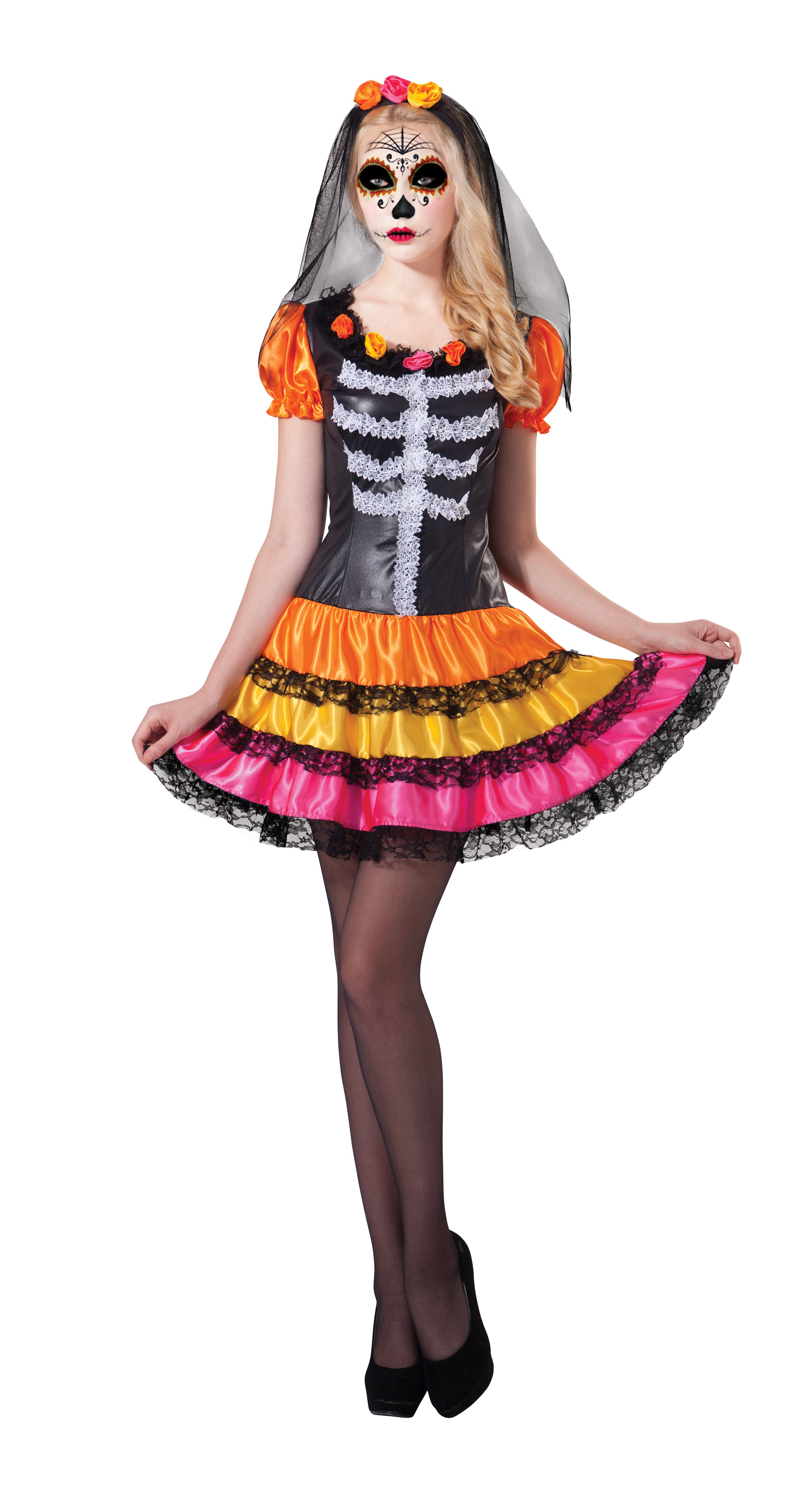 Ladies Womens Day of the Dead Rainbow Fancy Dress Skull Costume Outfit UK 10-14