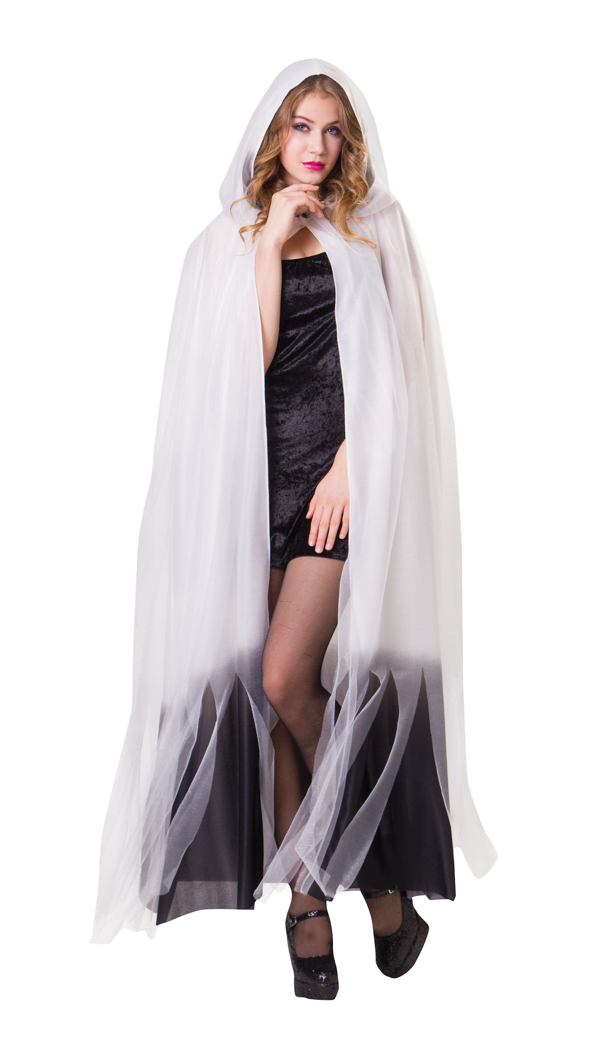 Ladies Womens White Hooded Cape Cloak With Black Finish Halloween Fancy Dress