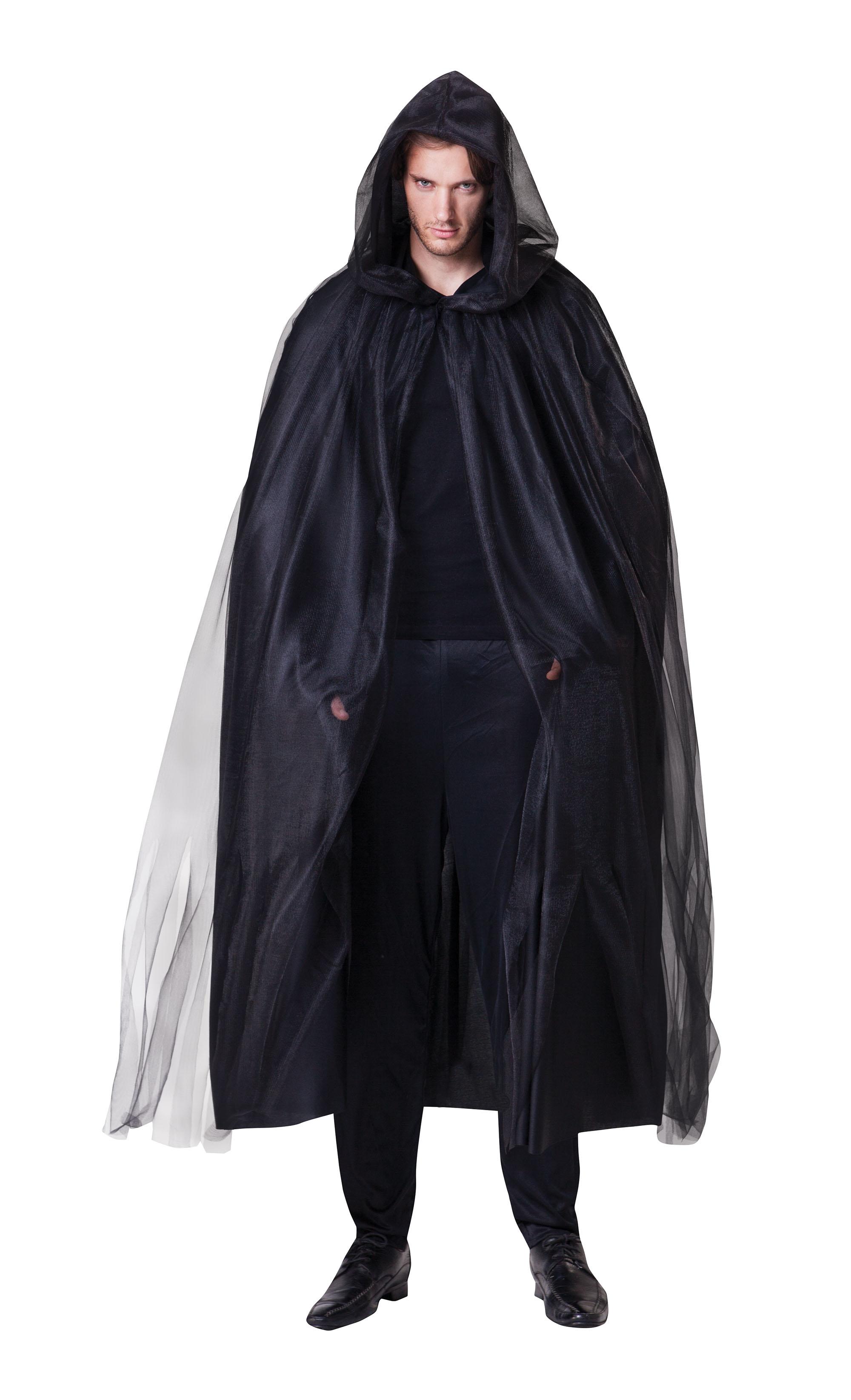 Mens Womens Black Hooded Cloak Cape Halloween Vampire Fancy Dress Costume