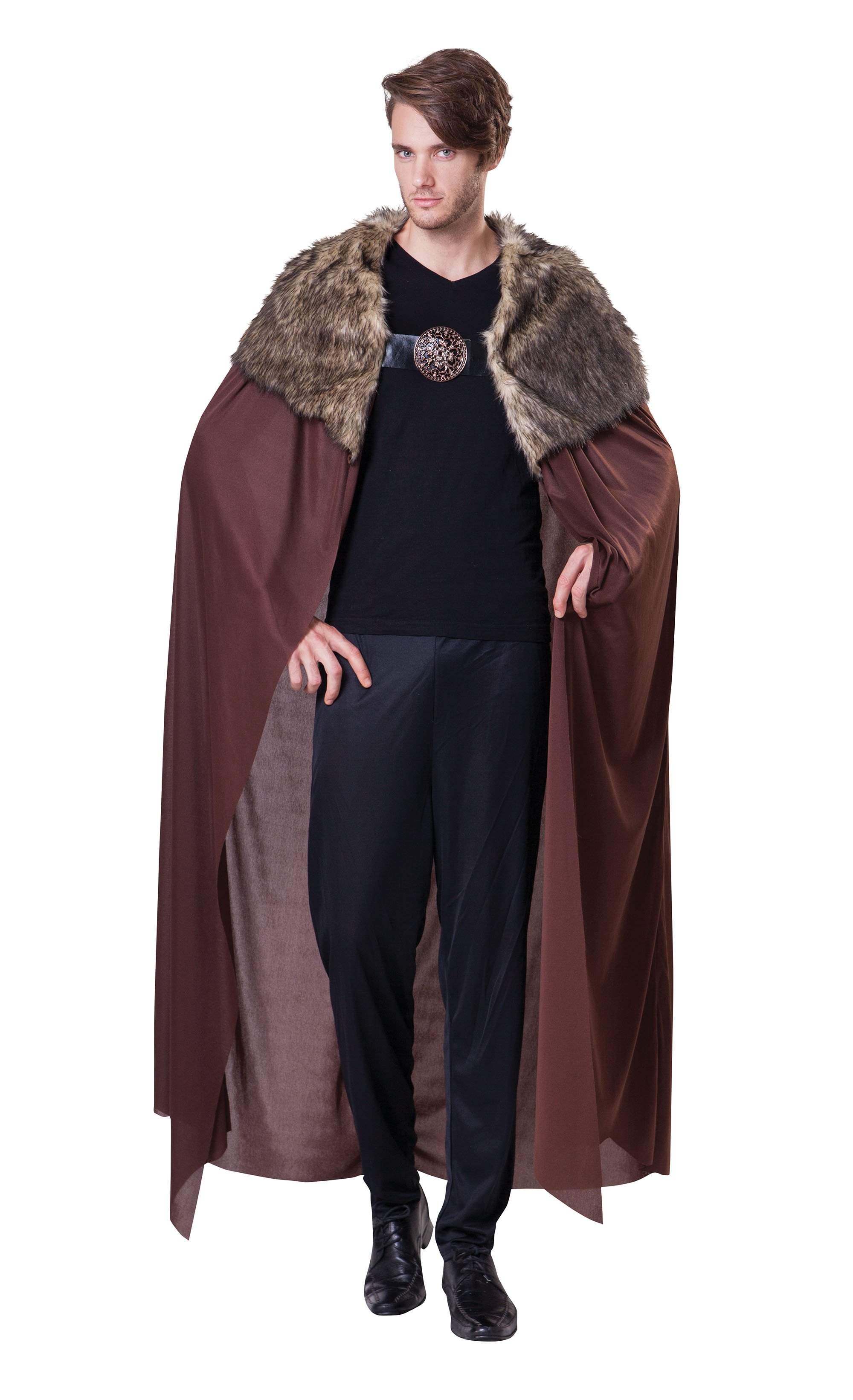 Mens Deluxe Game of Thrones Cape Cloak With Plush Collar King Fancy Dress
