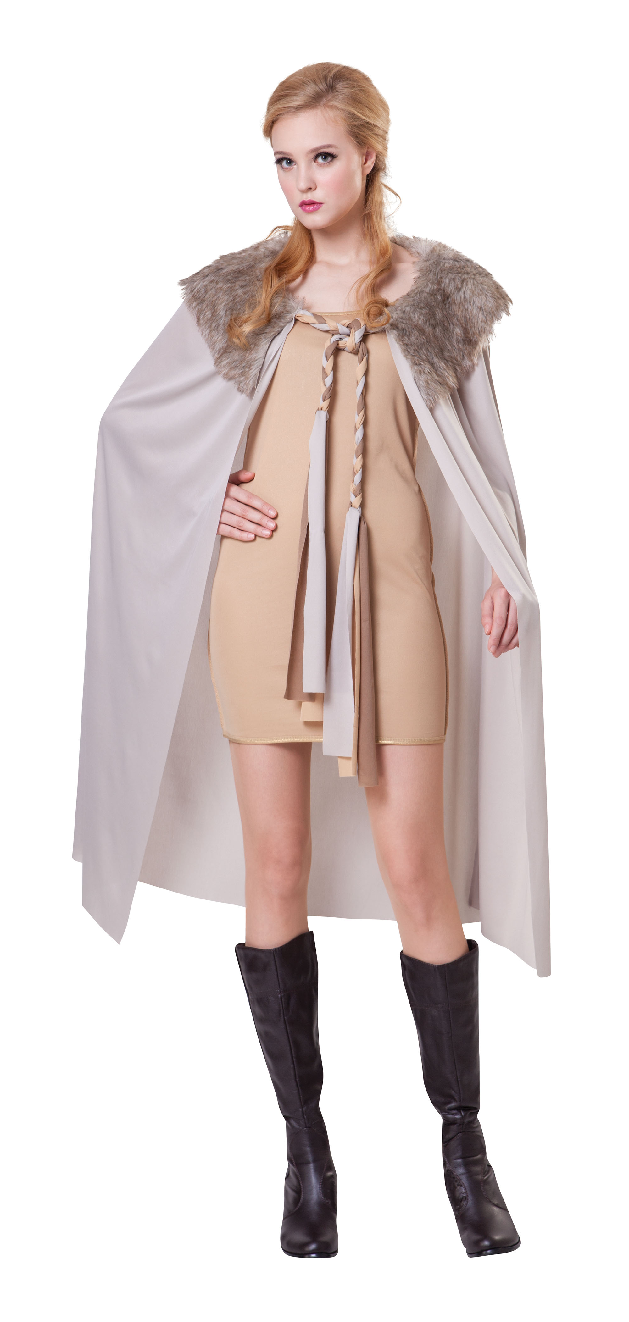 Ladies Short Grey Cape Cloak With Plush Collar Game Of Thrones Fancy Dress Prop
