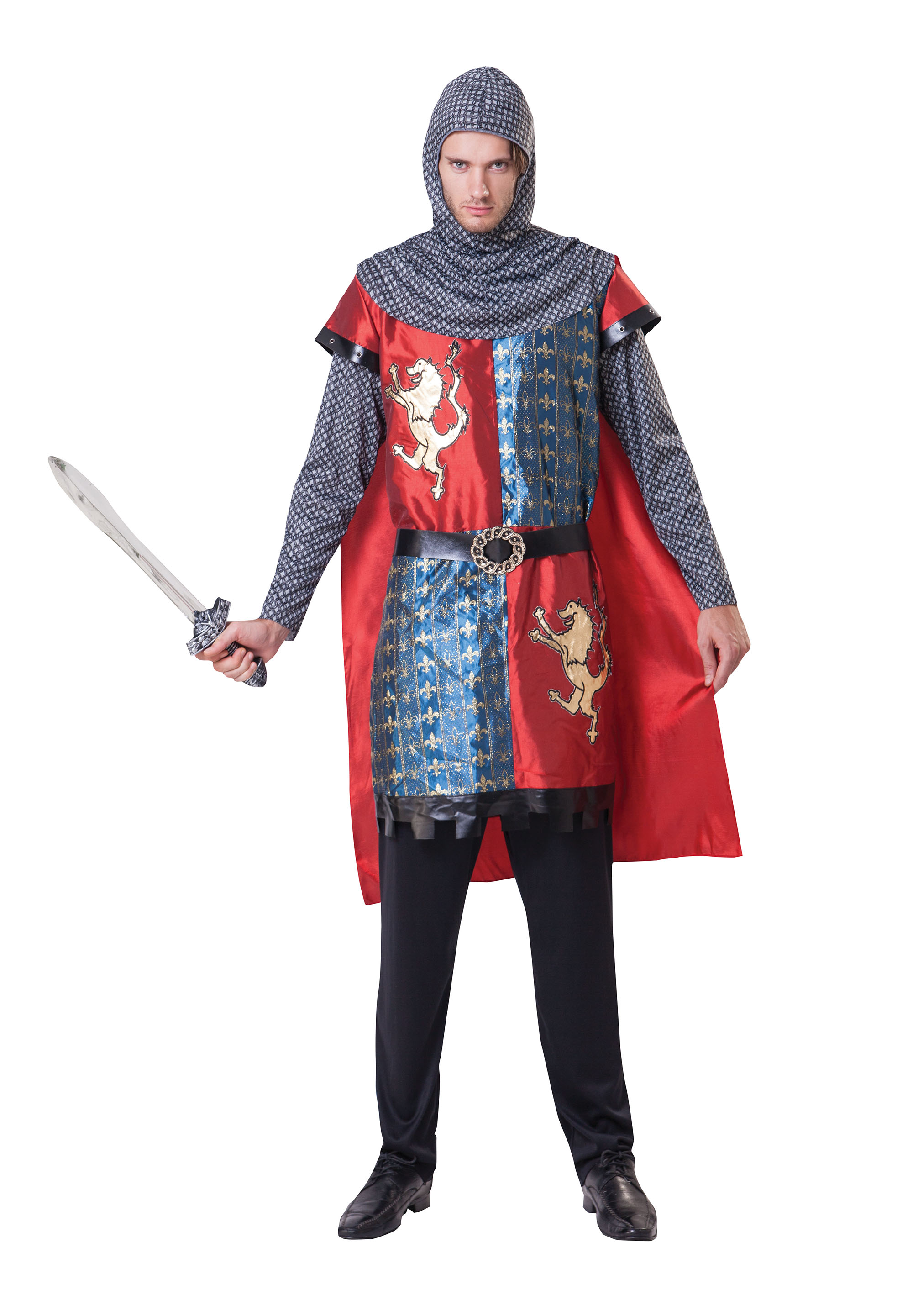 "Mens Adult Medieval Knight Fancy Dress Costume Outfit - One Size Up To 44"" Chest"