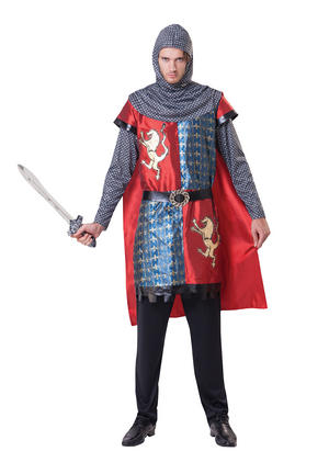 """Mens Adult Medieval Knight Fancy Dress Costume Outfit - One Size Up To 44"""" Chest"""