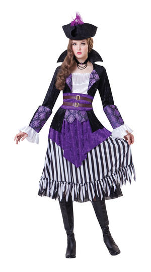 Ladies Womens Pirate Queen Fancy Dress Costume Captain Outfit Halloween UK 10-14