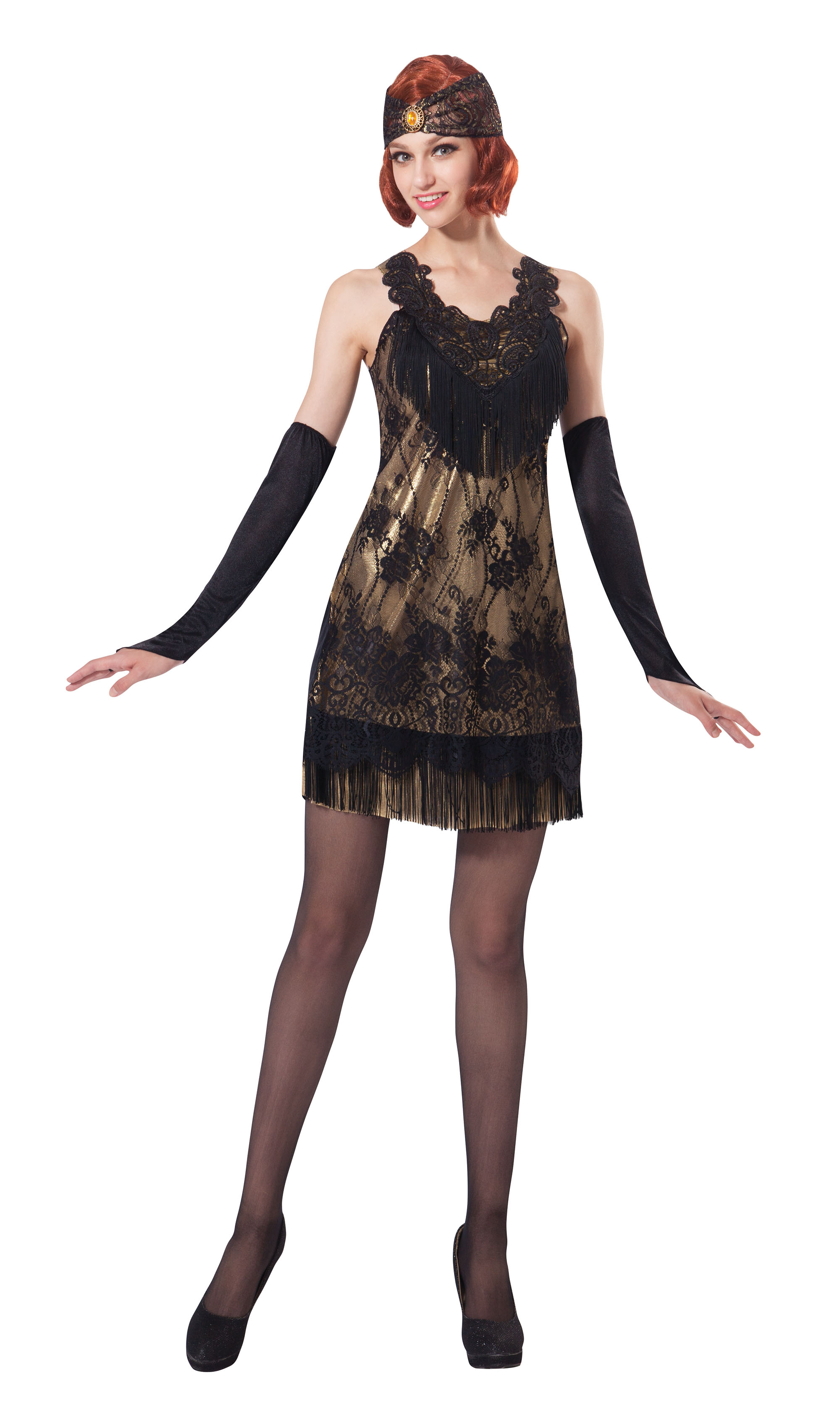Ladies Womens Black & Gold Lace Flapper Fancy Dress Costume 20s Outfit UK 10-14