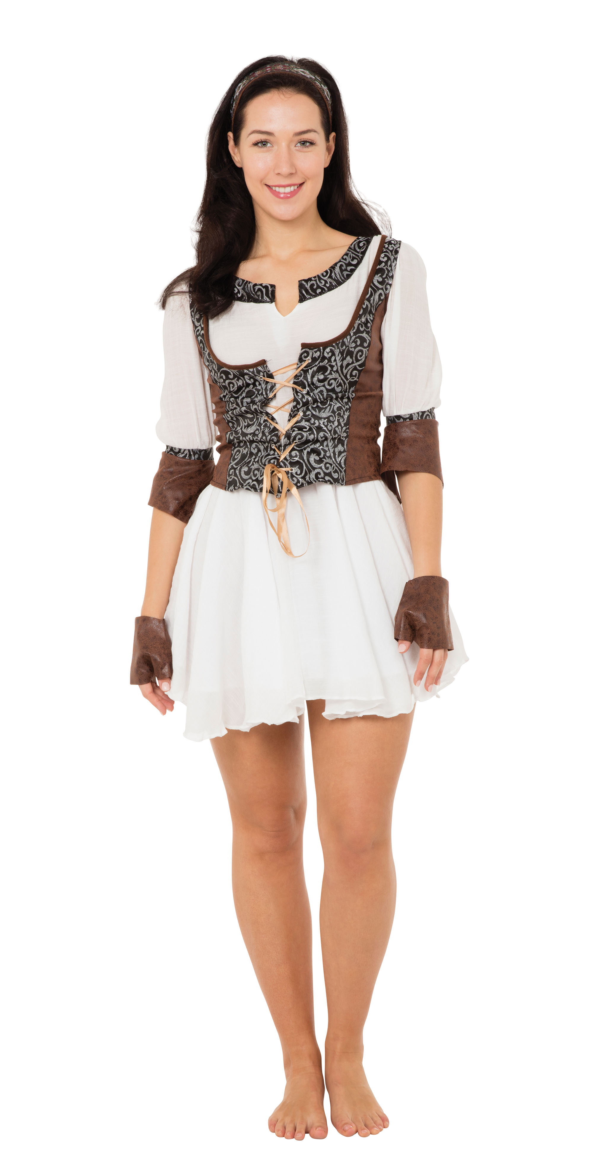 Ladies Womens Medieval Huntress Fancy Dress Costume Outfit UK 10-14