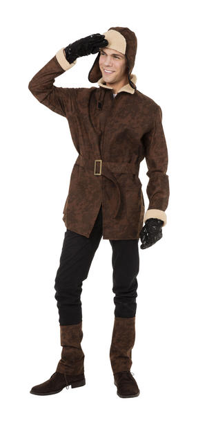 "Mens WW1 Pilot Fancy Dress Costume Adult Aviator Biggles Outfit 44"" Chest"