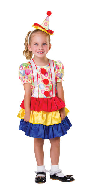 Kids Child Cute Clown Fancy Dress Costume Toddler Halloween Outfit 2-3 Yrs