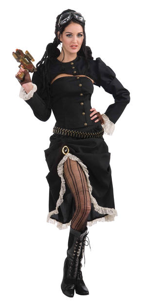 Ladies Womens Steampunk Renegade Fancy Dress Costume Outfit UK 10-14