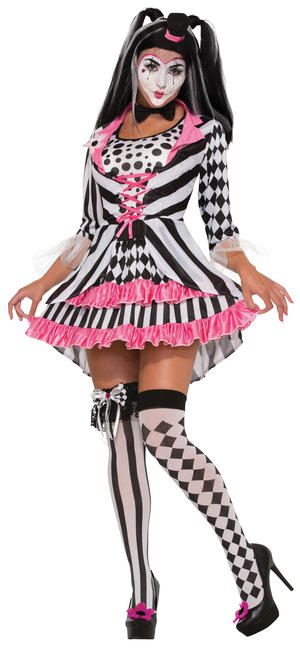 Ladies Harley Quin Clown Ring Mistress Fancy Dress Costume Outfit UK 10-14