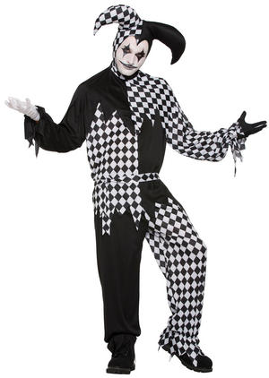 "Mens Harlequin Clown Dark Jester Fancy Dress Costume Halloween 44"" Chest"