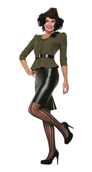 Ladies Missile Millie WW2 Fancy Dress Costume 40s Outfit UK 10-14