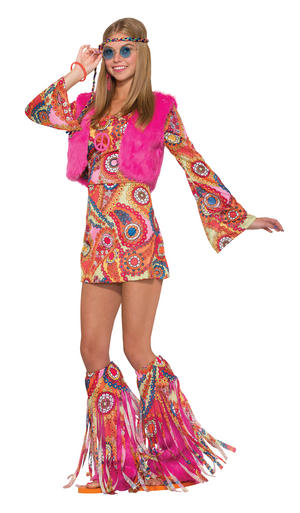 Ladies Womens Pink Fir Waistcoat Rever Hippy Fancy Dress Prop UK 10-14