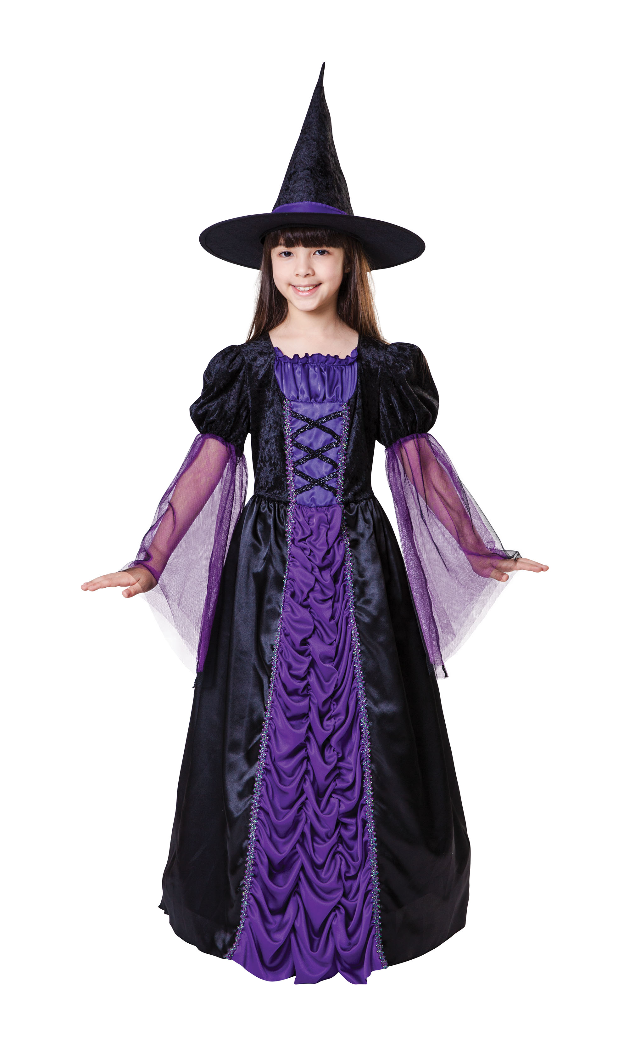 Childrens Kids Purple Witch Fancy Dress Costume Halloween Outfit ...