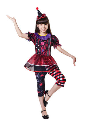 Childrens Halloween Clown Fancy Dress Costume Childs Kids Girls Outfit 6-10 Yrs