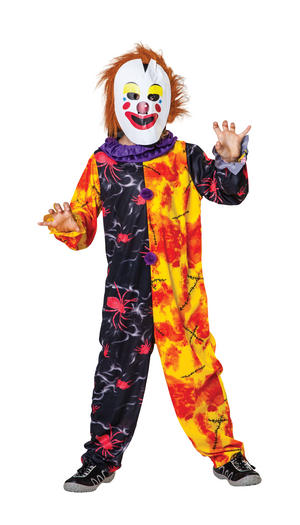 Childrens Halloween Clown Fancy Dress Costume Childs Kids Boys Outfit 6-10 Yrs