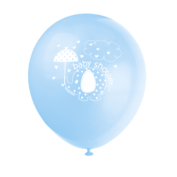 "12"" Latex Umbrella Elephants Balloon Baby Shower Party Decoration Blue"