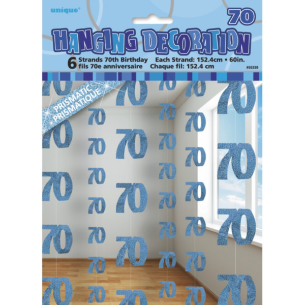 Sentinel 5 Ft Blue String 70Th Birthday Party Sign Age 70 Decoration 6 Pack